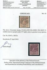 FALKLAND ISLANDS George V, 14 5/- SG67a Reddish Maroon with certificate,cat £300