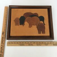 MidCentury Modern Wall art - Leather Elephants - Abstract Artisan Leather Craft
