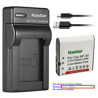 Kastar Battery Slim Charger for Casio NP-40 CNP40 & Casio Exilim EX-FC100 Camera