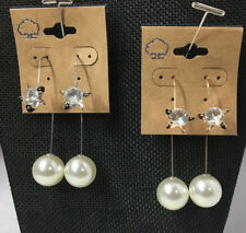 Unique Rhinestone Wire Dangle Pearl Earrings Silver & Gold 2pairs NEW #C56