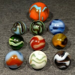10 Vintage Antique Swirl Marbles Lot Christensen C.A.C. Alley w/ Shooter
