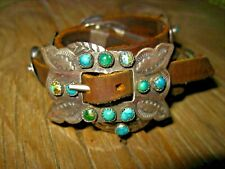 Old Stone Turquoise Concho Leather Bracelet Handmade for Ralph Lauren / 1980's