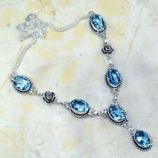BEAUTIFUL GENUINE FACETED BLUE TOPAZ GEMSTONES 925 SILVER ROSE NECKLACE 19 1/2""