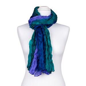 Knitterschal Halstuch Schal XXL blau grün Farbverlauf Seide 180x90cm