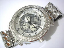 Iced Out Bling Bling Hip Hop Metal Band Techno King Men's Watch Silver