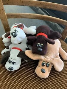 Lot 4 Vintage 1985 Mini Plush Pound Puppies Tonka