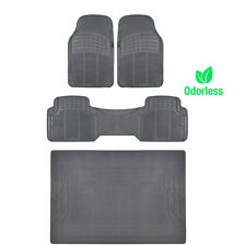 4pc Heavy Duty Rubber Floor Mat Full Set Gray All Weather Mats Liner BPA FREE