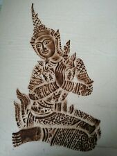 Vintage Thai Temple Stone Rubbing Picture on Rice Paper c 1960s. REDUCED