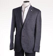 NWT $950 L.B.M. 1911 Navy Blue-White Patterned Cotton-Linen Sport Coat 40 R