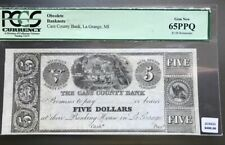 1840s $5 Cass County Bank La Grange MICHIGAN Note 65PPQ