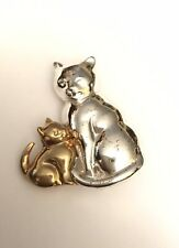 Two-tone Brooch Pin Cat And Kitten