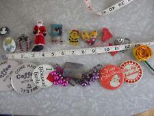 Pin button brooch lot Vintage handmade Holiday Hallmark Valentines Christmas