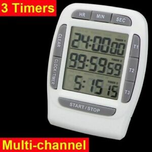 99 Hours Digital LCD Multi-Channel Timer CountDown Laboratory 3 Channel Timers