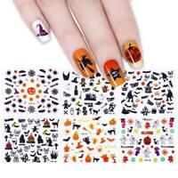 24 Sheets Halloween 3D Nail Art Stickers Pumpkins Ghosts Bats Cats Skulls Cross