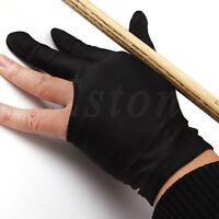 10pcs Spandex Snooker Billiard Cue Glove Pool Left Hand 3 Finger Accessory Black