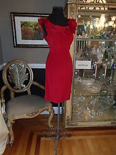 A1241 FLORES & FLORES SZ 10 RED CRIMSON COCKTAIL DRESS PARTY $370