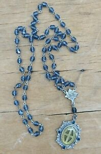 Virgins Saints & Angels VSA Rosary Necklace Blue Glass Beads Cross