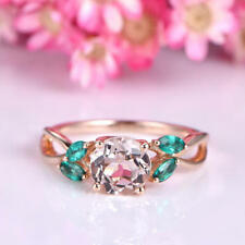 2Ct Round Cut Morganite Emerald Floral Petal Engagement Ring 14K Rose Gold Fnsh