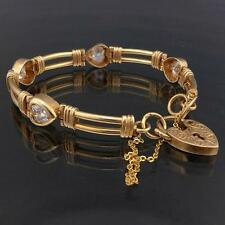 Love Heart Solid 9k YELLOW GOLD CUBIC ZIRCONIA BRACELET & PADLOCK & Safety Chain