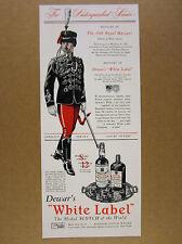 1941 10th Royal Hussars cavalry uniform art Dewar's Scotch vintage print Ad