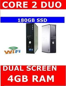 DELL 780 COMPUTER PC CORE 2 DUO DUAL SCREEN 180GB SSD 4GB RAM WIFI READY