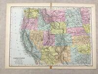 1891 Antik Map Of Die Vereinigte Staaten Von America West Coast 19th Jahrhundert