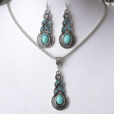 Women Tibetan Silver Crystal Chain Pendant Necklace Earrings Round Jewelry Sets