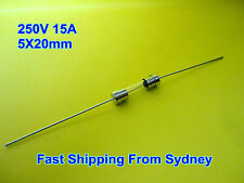 Microwave Oven MWO Fast Blow Glass Fuse With Wire 250V 15A 5X20mm ---NEW