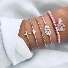 5pcs Weave Rope Beads Chain Cuff Bangle Pineapple Bracelet Set