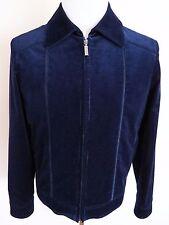 $5500 ZILLI Blue Corduroy with Calf Suede Leather Trim Jacket Size 50 EU Medium