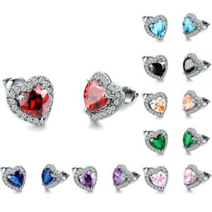 Fashion Multicolor Sapphire Heart Stud Earrings White Gold Jewelry Womens Gifts