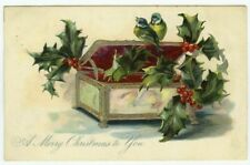"""Christmas Tuck """"Holly Post Cards"""" Series Birds on Trinket Box Embossed"""