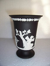 Wedgwood Black jasperware  trumpet vase in excellent condition .