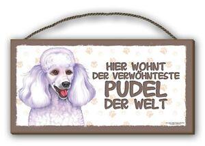HIER WOHNT DER VERWÖHNTESTE PUDEL - HOLZSCHILD MDF 25x12,5 cm 42 HUNDESCHILD