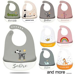 Baby Bibs Cute Dishwasher safe Comfortable Silicone Feeding Food Catcher Plastic