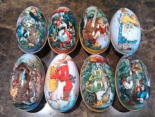 8pcs Vintage Easter Eggs Tin Metal Rabbit Litho Gift Wedding Candy box