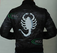BLACK DRIVE SCORPION RIDER TRUCKER RYAN GOSLING SATIN JACKET EMBROIDRED SCORPION