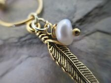 """Gold Feather Natural Pearl Cartilage Piercing Captive Ring Tragus 14G 1/2"""""""