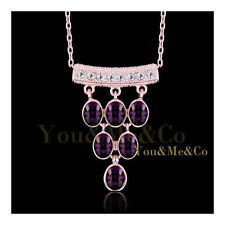 18k Rose Gold EP Brilliant & Oval Cut Amethyst Crystal Pendant Necklace