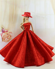 Red Fashion Royalty Princess Party Dress/Clothes/Gown+hat For Barbie Doll E09