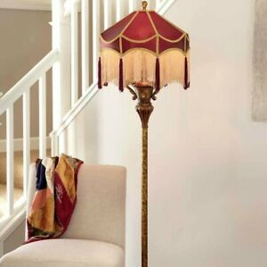 Victorian Style Burgundy and Gold Floor Lamp Reading Accent Lamp