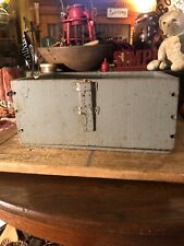 Primitive Wood Box Blue Paint Rustic Farmhouse Antique