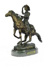 Bronze Sculpture Western Cowboy Rider Horse Figurine Statue Room Collect Gift