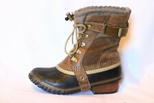 SOREL Carly Conquest Short Brown Black Rain Boot Bootie Women US 5