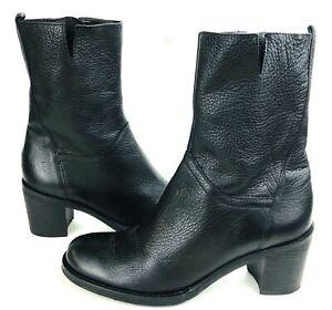 "BCBGirls Boots EUR 36.5 US 6.5 M Black Leather Mid-Calf Side Zip 2.5"" Heels EUC"