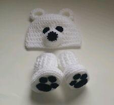 NEW Newborn Baby Crochet Polar Bear Hat and Booties infant Photo Prop Gift
