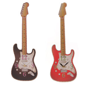 Fun Novelty Rock Guitar Shaped Wall Clock (Red or Black)