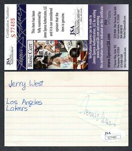 JSA Jerry West Autographed Signed Index Card Los Angeles Lakers TRB 480