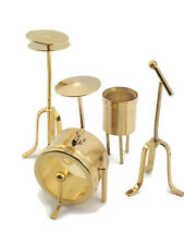 Mini Drum Set Miniature Brass Decoration Doll House Collection Brass Figurines