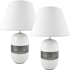 BRUBAKER 2er Set Tischlampen Nachttischlampen Keramik Weiß Chrom 45 cm